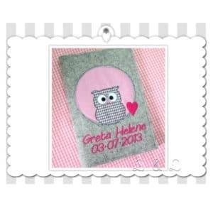 U-Hefthülle 100% Wollfilz Eulenliebe – rosa/pink