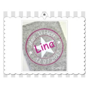 U-Hefthülle 100% Wollfilz Stempelapplikation – rosa/pink