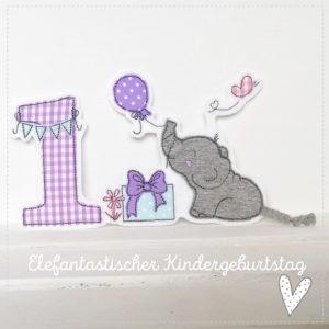 Doodle 1.Geburtstag mit Elefant Emmi – hellgrau/lila mint