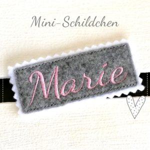 Mini Namensschild – hellgrau/rosa – 7cm x 2,5cm