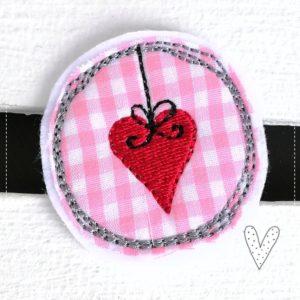 Kleines Herz – Miniapplikation – rosa/rot – 4,5cm