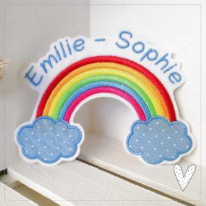 Bügelbild Großer Regenbogen mit Wunschnamen