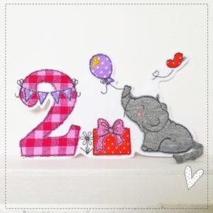 Doodle Geburtstag Elefantenliebe – beere/pink/orange