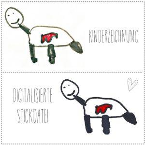 Kinderzeichnung digitalisiert in eine Stickdatei, Fuellstich