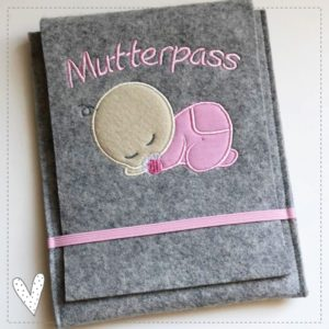 Versandfertig – Mutterpasshülle – Baby rosa aus 100% Wollfilz