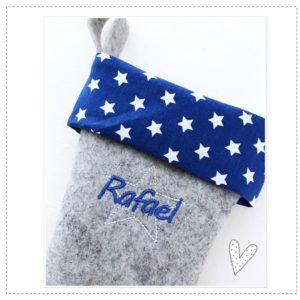 Nikolausstiefel mit Wunschnamen in azurblau mit weißen Sternchen