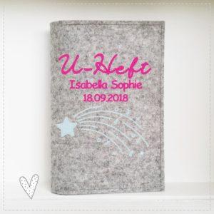 U-Hefthülle 100% Wollfilz Sternschnuppe hellblau/pink mit Wunschnamen