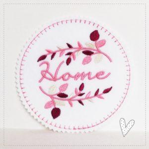 Bügelbild Home – Blätterzeig in rosa/taupe/hellgrau