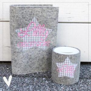 U-Hefthülle & Spardose im Geschenkeset aus 100% Wollfilz Stern mit Wunschnamen