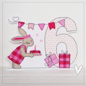 Doodle Hasenmädchen mit Namen & Geburtstagszahl 1-9 pink/rosa
