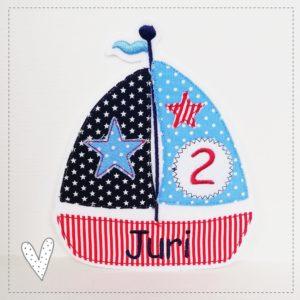 Bügelbild Segelschiff zum Geburtstag