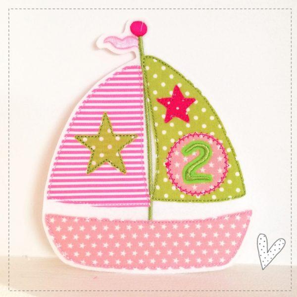 Geburtstagsaufnäher 2 Schiff in rosa mit apfelgrün und pink zum aufbügeln 14,5cm x 12cm