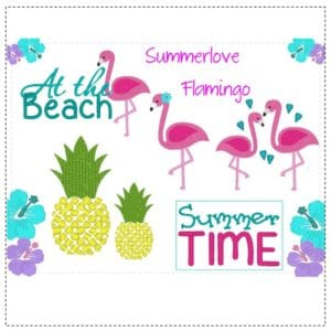 Stickdatei 18×13 – Summerlove Flamingo –