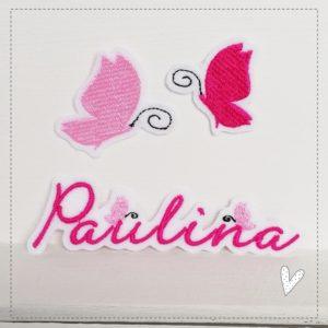 Namensschildchen mit Schmetterlingen im Set –  rosa/pink