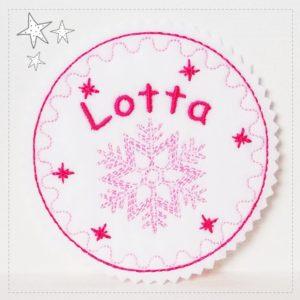 Weihnachtliches Namensschild – rosa/pink – 9,5cm
