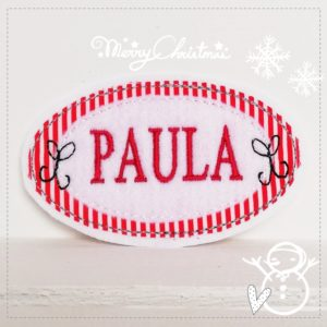 Weihnachtliches Namensschild – rot/weiß – 9,5cm x 5,5cm