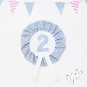 Anstecker für den 2.Geburtstag – graublau/hellblau – 9,5cm mit Wunschzahl