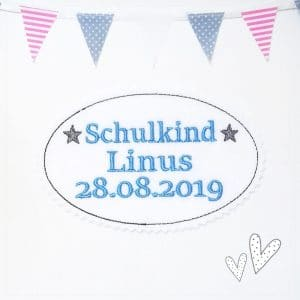Applikation hellblau/grau – Schulkind 2019 – mit Wunschnamen