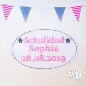 Applikation rosa/grau – Schulkind 2019 – mit Wunschnamen