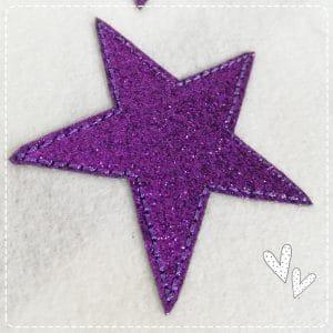 GLITZER – lila mini Sternchen 4er Set – 6,5cm