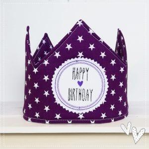 ♥ Versandfertige Geburtstags-Krone – lila/weiß ab dem 1.Geb.
