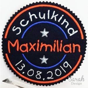 Mein 1.Schultag dunkelblau/orange – mit Wunschdaten – Stempelaufnäher – 13cm