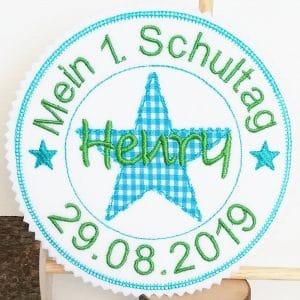 Mein 1.Schultag grasgrün/türkis – Stempelaufnäher – 13cm