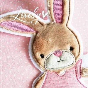 XL Hasenmädchen  – rosa – 18cm x 13cm