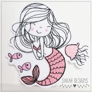Applikation Meerjungfrau 14cm –  rosa