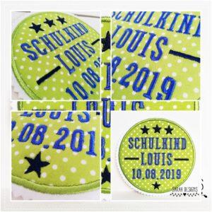 Bügelbild Schulkind apfelgrün/azurblau/marine – mit Wunschdaten – 13cm