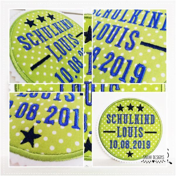 Schulkind 2019 Applikation Schulkind Aufnäher Patch at School grün mit Azurblau 13cm Durchmesser mit Wunschdaten2