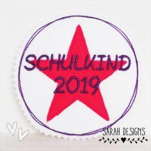 Schulkind 2019 –  pink/lila – 11cm Durchmesser