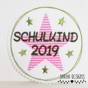 Schulkind 2019 –  rosa/apfelgrün – 11cm Durchmesser