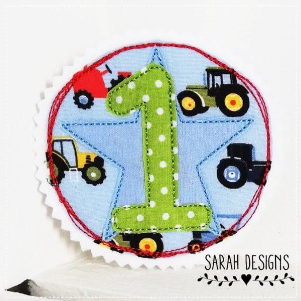 Aufnäher Geburtstag 1 runde Applikation mit einer 1. Aufnäher zum Kindergeburtstag . Bügelbild mit einer 1 10cm Durchmesser für Jungen mit Traktoren in apfelgrün hellblau