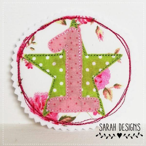 Aufnäher Geburtstag 1 runde Applikation mit einer 1. Aufnäher zum Kindergeburtstag . Bügelbild mit einer 1 10cm Durchmesser für Mädchen in pink mit apelgrün