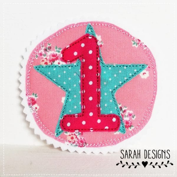 Aufnäher Geburtstag 1 runde Applikation mit einer 1. Aufnäher zum Kindergeburtstag . Bügelbild mit einer 1 10cm Durchmesser für Mädchen in pink mit rosa