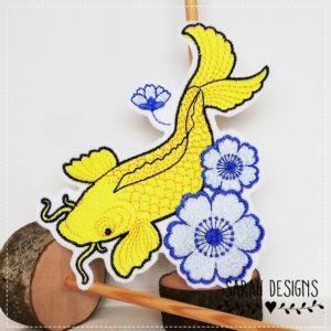 Bügelbild Japanischer Koi – gelb blau –