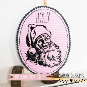 Klassischer Weihnachtsmann – rosa/schwarz 18cm