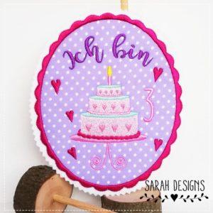 Bügelbild Geburtstagstorte lila/pink