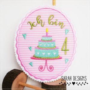 Bügelbild Geburtstagstorte rosa/apfelgrün