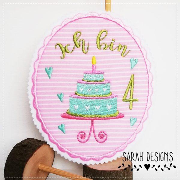 Aufnäher Geburtstag Torte ich bin 3 Happy Birthday Applikation rosa mit mit und Apfelgrün sowie einer 4 16cm x 14cm