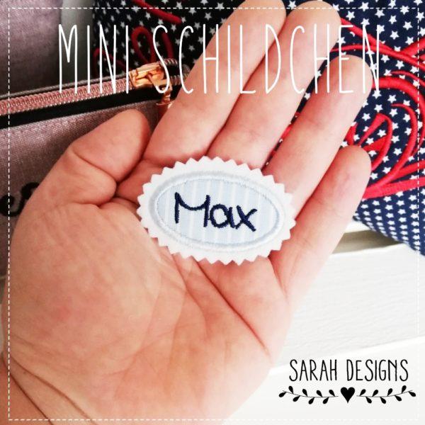 Mini Namensschild Minischild Aufnäher ganz klein in hellblau mit marineblau und deinem Wunschnamen gestickt auf weissen Textilfilz 5,5cm x 3,5 2019