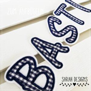 von A-Z   einzelne Buchstaben zum Aufbügeln – 7cm marineblau