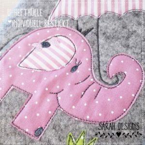U-Hefthülle bestickt mit Elefantenbaby rosa