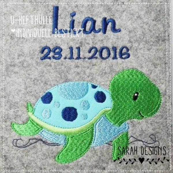 U-hefthülle Wollfilz ganz persönlich bestickt mit einer Schildkröte und deinem Wunschnamen 22,5cm x 15,5cm2