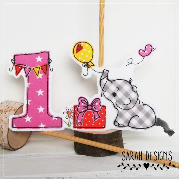 Aufnäher Elefant mit Geburtstagszahl in grait mit pink rosa und orange18x13