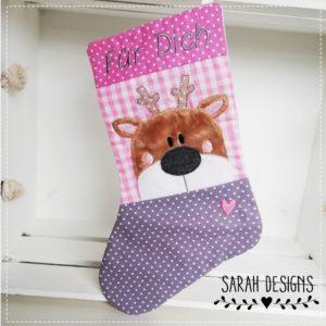 Nikolausstiefel rosa/grau – kleiner Hirsch