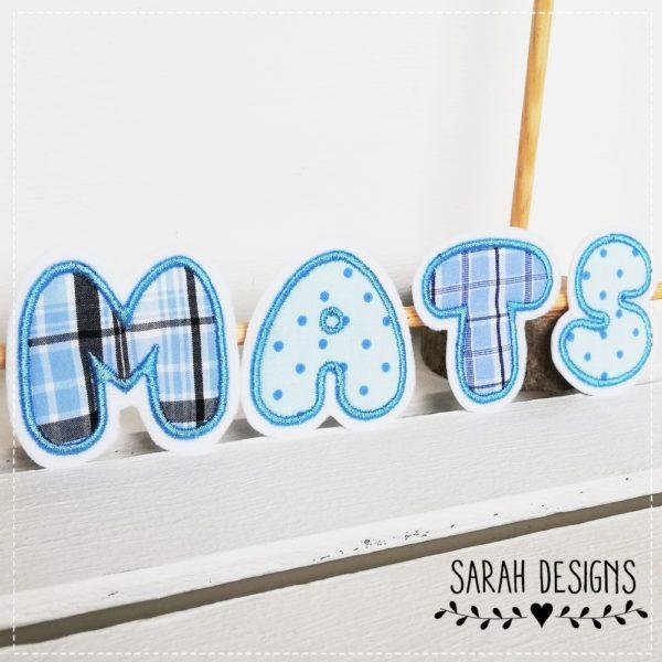 Stoffbuchstaben bubble in blautönen 6cm Höhe zum Aufbügeln