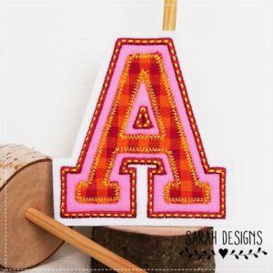 College Buchstabe von A-Z – pink / orange  – 10cm