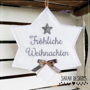 Weihnachtlicher Stern 20cm weiss/grau